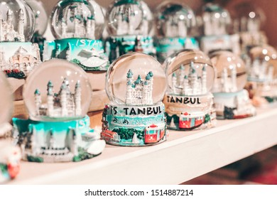 Snow globe with Sultan Ahmed Blue Mosque. Souvenir from Istanbul, Turkey.  2019-08-13.