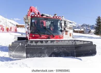 snow groomer at a ski resort