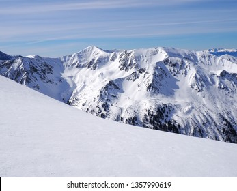 Snow in the  high mountains