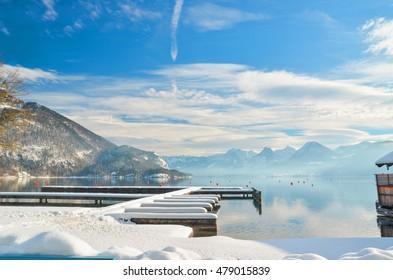 snow ice in xmas season , Austria lakes among Salzburg and Vienna