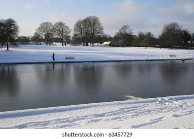 Snow and Lake Scene