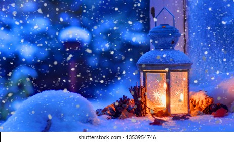 The snow lamp inside the winter's beauty