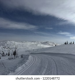 Snow landscape in Fla area in Norway, ski road