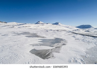 Snow landscape in Iceland