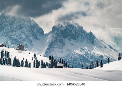 Snow landscape in the nature park Drei Zinnen, South Tyrol, Alps, Italy