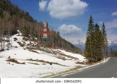 Snow in late April near a ski resort in Gorenjska region, Slovenia