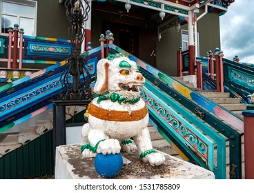 Snow lion at the entrance to the Buddhist temple in Ivolginsky datsan. Republic of Buryatia, Russia.