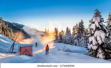 Snow making on a cat track next to snow covered trees.