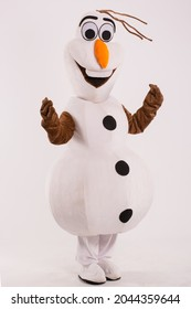 Snow man character of the film Frozen. Disney famous characters.