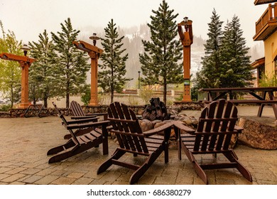 Snow in May in Olympic Village, Lake Tahoe, California