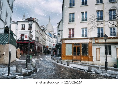 Snow in Montmartre in Paris, France