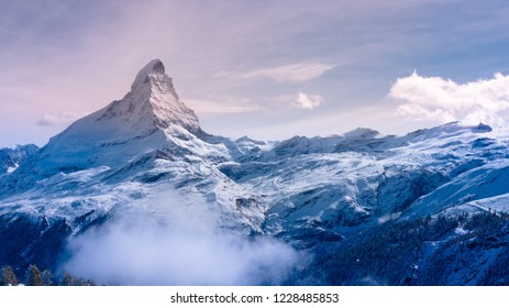 Snow mountain in the afternoon