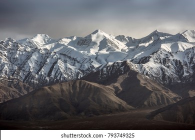 Snow Mountain with Blue Sky from Leh Ladakh India