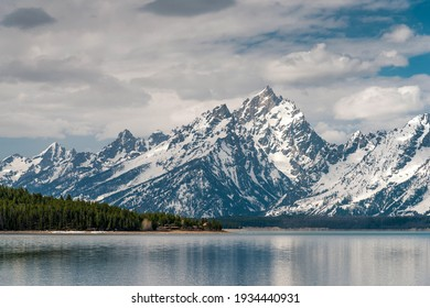 The snow mountain and forest in Grand Teton National park, Wyoming, USA