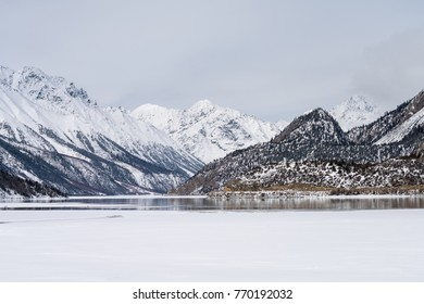 snow mountain and ice lake ,plateau landscape in winter, tibet