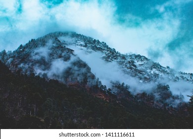 snow mountain in kasol,India at winter season of 2019.