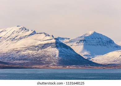 snow mountain landscape background during sunset in  Iceland
