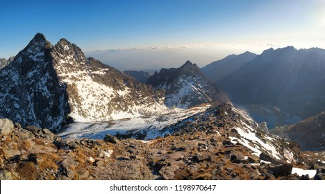 Snow mountain landscape from Rysy peaks at sunset, Slovakia.