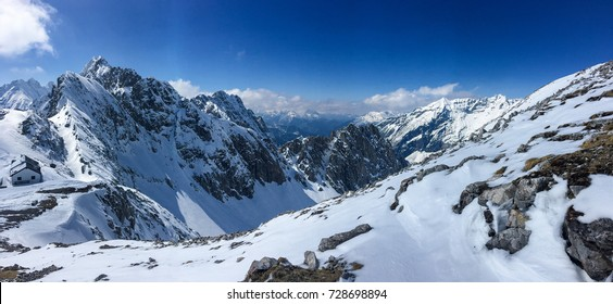 Snow Mountain Range Landscape with Blue Sky