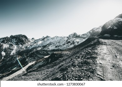 Snow mountain road in ali region, Tibet