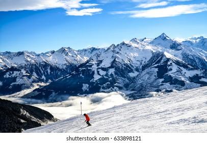 Snow mountain ski landscape. Mountain skier in snow mountain ski resort