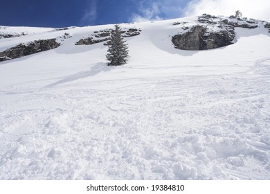 Snow mountain and ski slope. Winter concept