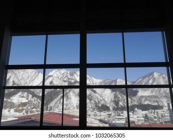 snow mountain view outside the window
