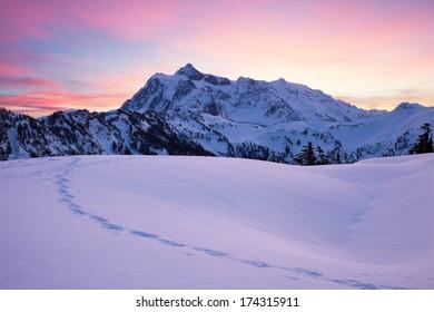Snow Mountains at Dawn