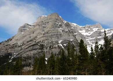Snow mountains and forests in banff national park, alberta, canada