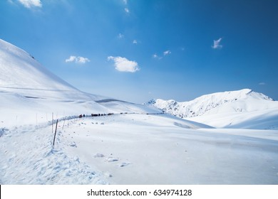 The snow mountains  on Tateyama Kurobe Alpine Route, Japanese Alps ,Beautiful view landscape in Toyama Japan.