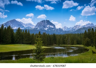 Snow mountains and river, Durmitor national park, Montenegro