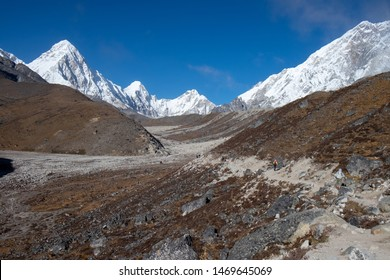 Snow mountains and sandy rocky path under a clear blue sky during the hike from Lobuche to Gorak Shep, Everest base camp trekking trail, EBC, Sagarmatha National Park, Nepal