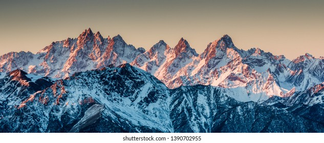 Snow mountains in Sichuan of China