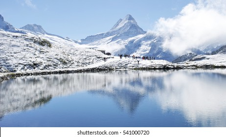 Snow mountains water reflections Swiss Alps in August, Interlaken, Switzerland