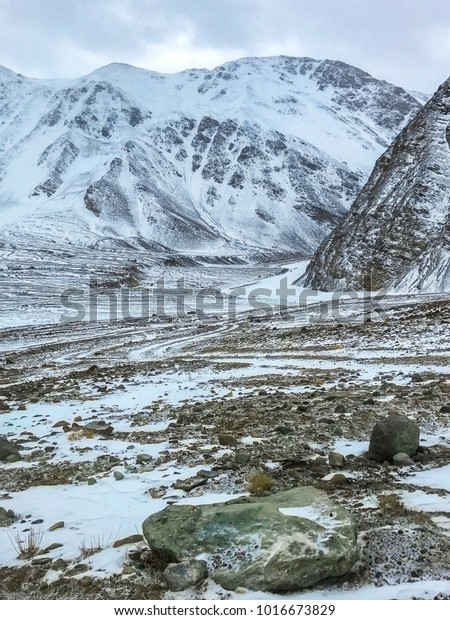 Snow Mountains Winter Season Ladakh India Stock Photo (Edit