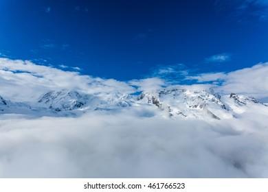 Snow mountains at Zermatt, Switzerland.