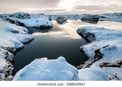 Snow in Myvatn lake, north Iceland, winter