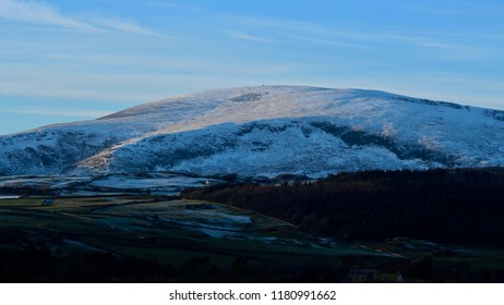 Snow on Black Combe, and the fells and mountains of the English south lake district.