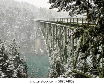 Snow on Deception Pass Bridge