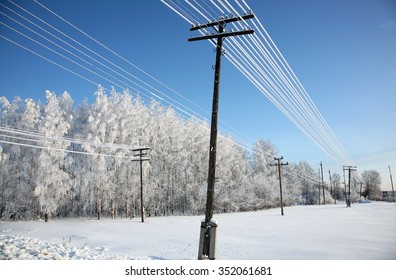 snow on electric wires