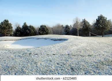 snow on a golf course in blessington country wicklow ireland