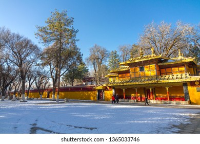 Snow on the ground outside the colorful Norbulingka, the Summer Palace. Lhasa, Tibet, China
