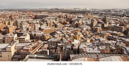 Snow on Lleida / Lérida. Catalonia, Spain