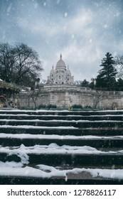 Snow on Montmartre in Paris, France