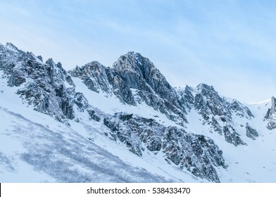 Snow on the mountain in winter season.