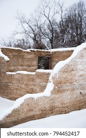 Snow on old crumbled barn in Springfield, Missouri during winter.