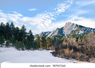 Snow on the path up to the Flatirons, and the pine forest at Chautauqua, Boulder, Colorado