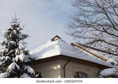 Snow on the roof and the cloudy sky. The image contains a spruce covered with snow and a tree without leaves.