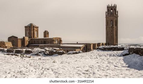 Snow on Seu Vella Cathedral. Lleida (Lerida), Catalonia, Spain.