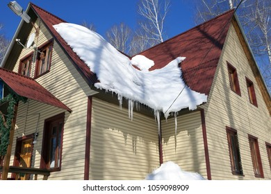 Snow on a steep roof